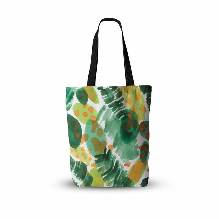 """Yenty Jap """"Tropical Plants Leaves"""" Green Orange Watercolor Everything Tote Bag from KESS InHouse"""
