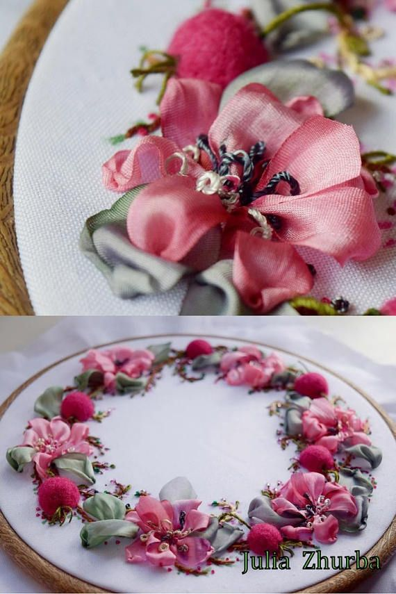 Round Floral Embroidery Art fiber wall  hanging textile #вышивка_лентами #ribbon_embroidery #ribbonembroidery #silk_ribbon_embroidery #embroideryribbon #new_dwelling #flowerdecoration #wallhangingtextile #HomeDecor #RoundFloral #Walldecor #wedding #Bohostyle #Cottagestyle