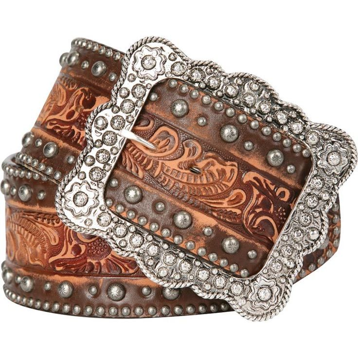 Double J Ladies Saddlery Vintage Hand Tooled Western Cowgirl Belt