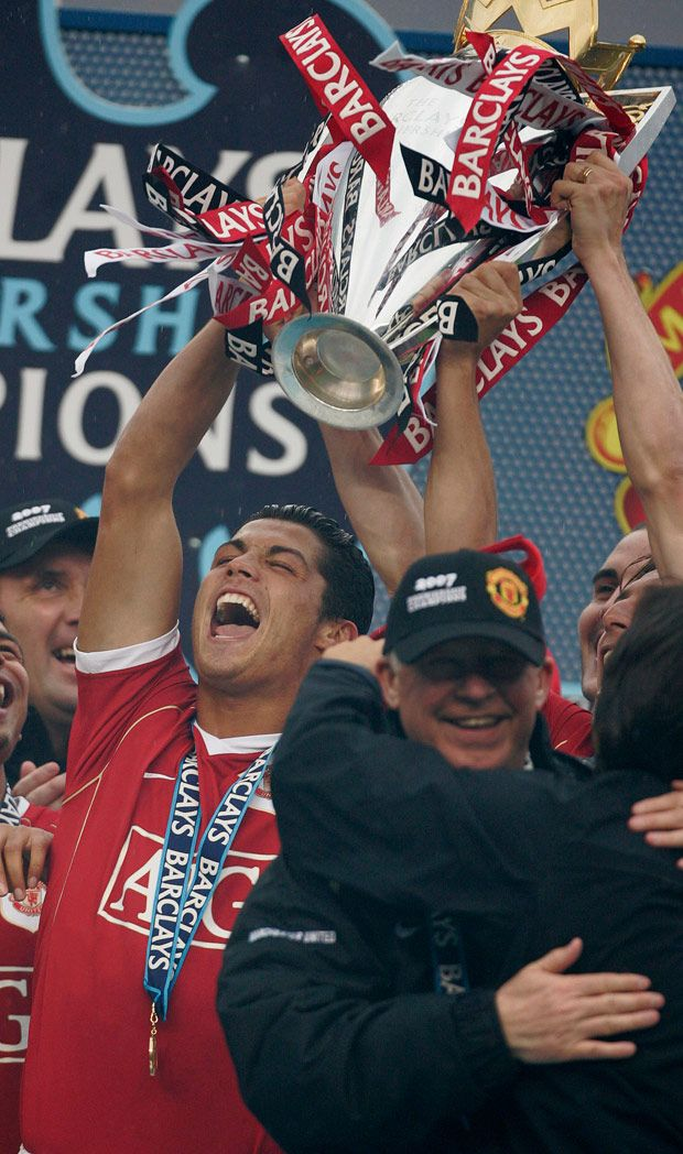 Cristiano Ronaldo holds the English Premier League Trophy after they were crowned champions in 2007.
