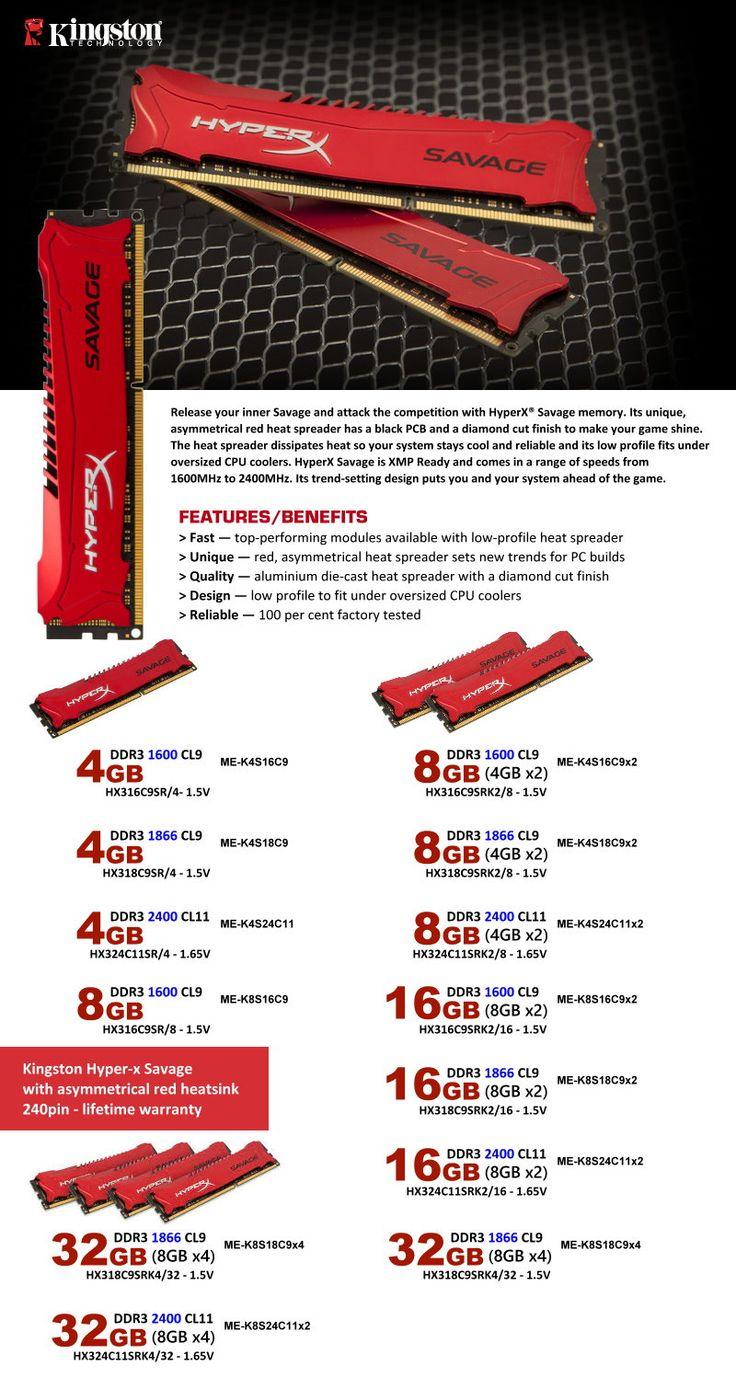 Kingston HYper-X Savage with asymmetrical red heatsink 240pin- lifetime warranty