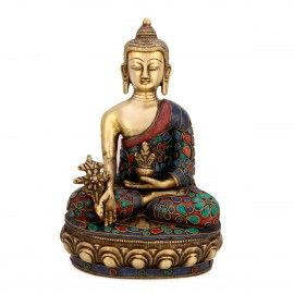 """10"""" Large Brass Beautiful Lotus Sitting Medicine Buddha Statue"""