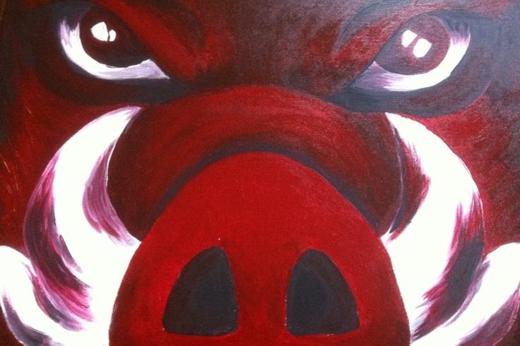 Razorback canvas Arkansas razorbacks go hogs by TaylorHouseGifts