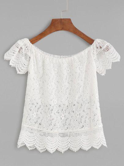 Blusa escote barco crochet encaje festoneado hueca-Sheinside