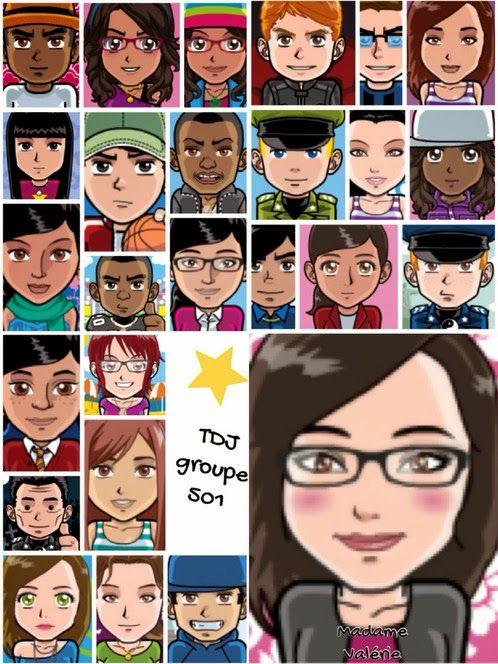 Excellente idée! Faire faire un avatar par chaque élève en début d'année. Puis, faire un montage photo avec l'application Pic-Collage.  La classe de Madame Valérie: avatar