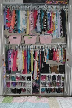Organizing a kids closet with two rows and shoe storage. Love this idea if you have two kids sharing a closet
