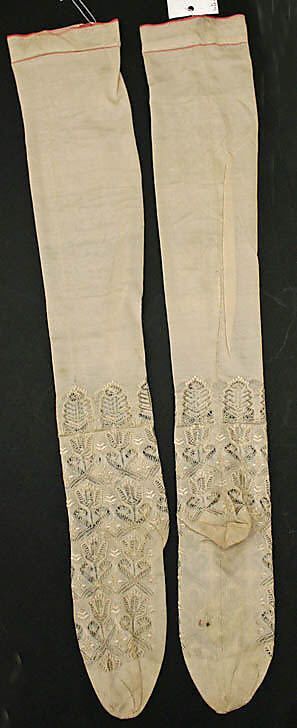 Stockings Date: 1846 Culture: French Medium: silk Dimensions: [no dimensions available] Credit Line: Gift of Mrs. Edward A. White, 1945 Accession Number: C.I.45.113.3a, b