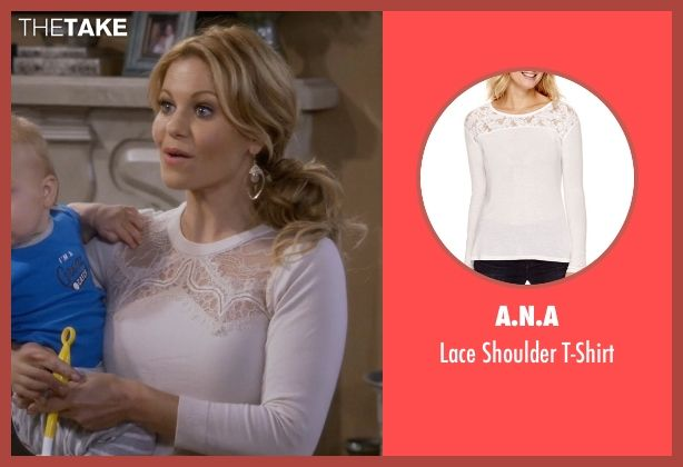 A.N.A Lace Shoulder T-Shirt inspired by D.J. Tanner-Fuller in Fuller House | TheTake