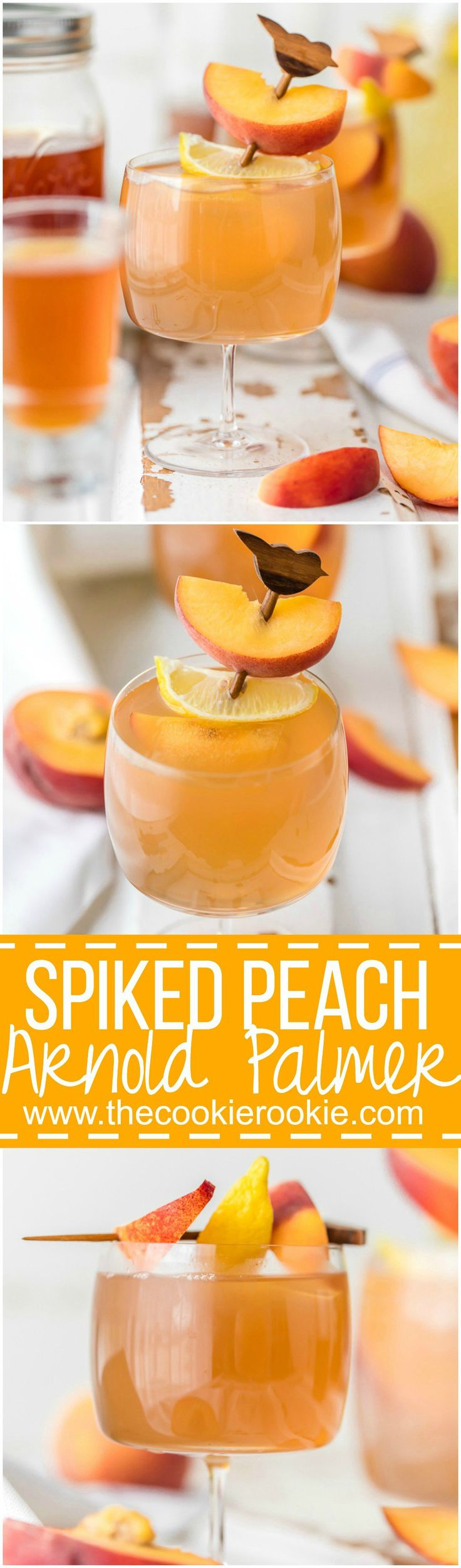 Spiked Peach Arnold Palmer is a fun and refreshing Summer Cocktail! Made with Homemade Peach Tea Vodka, delicious!