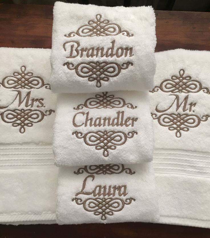 Set of mr and mrs monogrammed towels creative - Free embroidery designs for kitchen towels ...