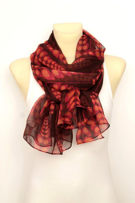 Gift Idea For Her - Floral Silk Scarf - Women Silk Shawl - Fashion Accessories - Unique Fabric Scarf - Chiffon Scarf - Boho Scarf