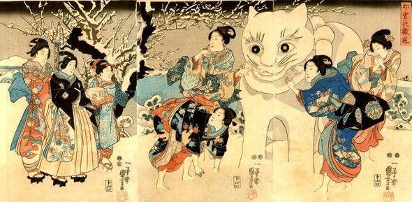 Utagawa Kuniyoshi, Giant snow cat, 1847-50