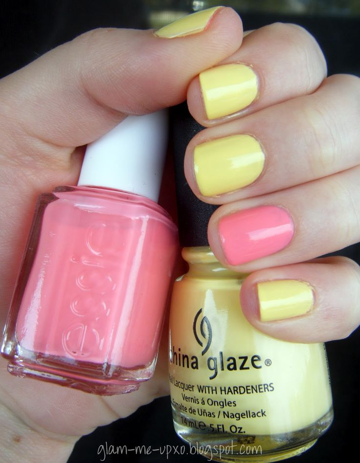 Light yellow nails + peach accent nail