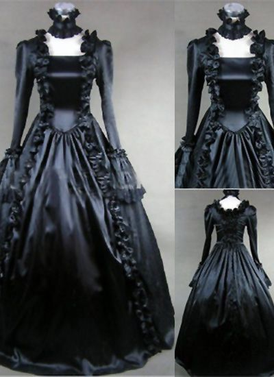 Black Long Sleeve Satin Gothic Victorian Dress