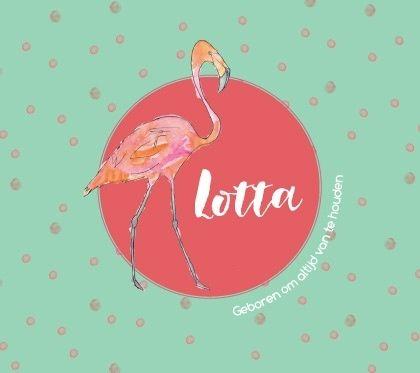 Dit super leuk geboortekaartje heeft een handgeschilderde flamingo.  Ook de stipjes op de achtergrond zijn handgeschilderd. #geboortekaartje #flamingo #munt #koraal #birthcard #meisje