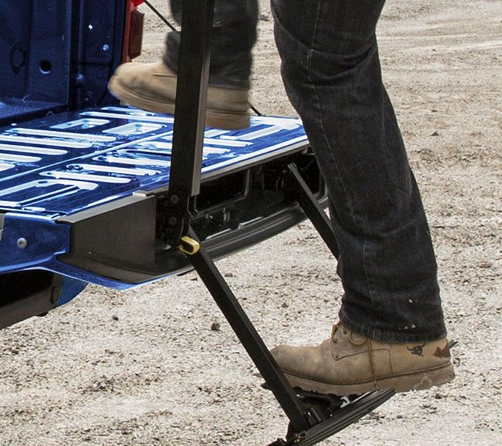 2018 F-150- Tailgate Step with Tailgate Lift Assist. The F-150 is the only half-ton pickup that offers an available tailgate step with tailgate lift assist.