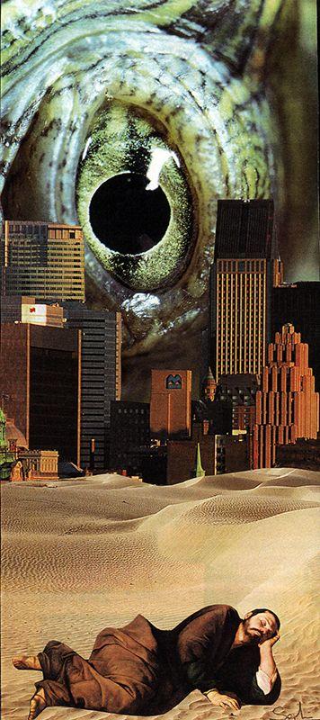 Le Songe de Saint Machin. Collage papier, 2000. Collage de Zophie Zyphon