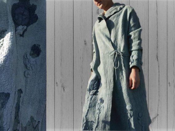 Women coat, Felted coat,  Jacket, Hand made, Clothing, Gray-  Blue, Wearable art, Nuno felted, Designer,  Eco-fashion, Wool Coat