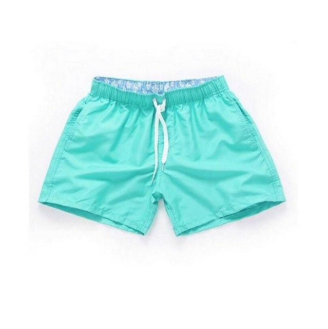 Visnxgi Men Summer Casual Shorts Men Fit Solid 16 Color Available Shorts Loose Elastic Waist Breathable Beach Shorts Q196 Cyan S