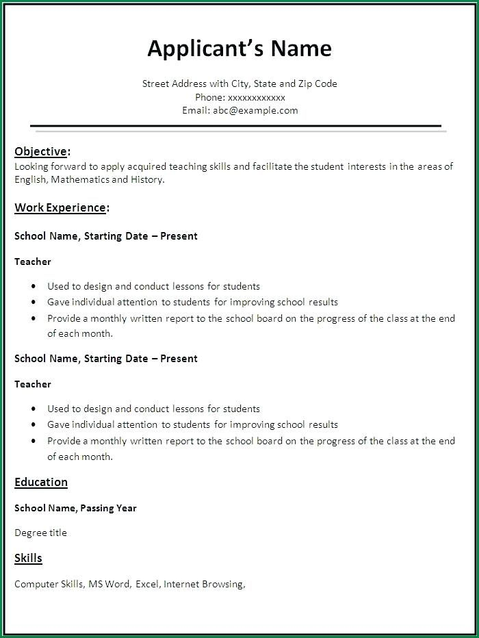 Format For Teacher Resume Teaching Resume For Freshers Teacher
