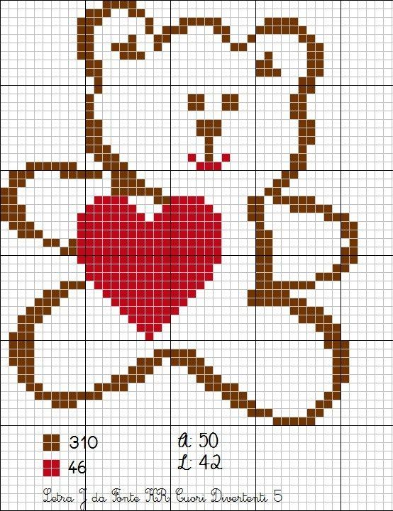urso, ursinho coração ponto cruz fácil, bebê