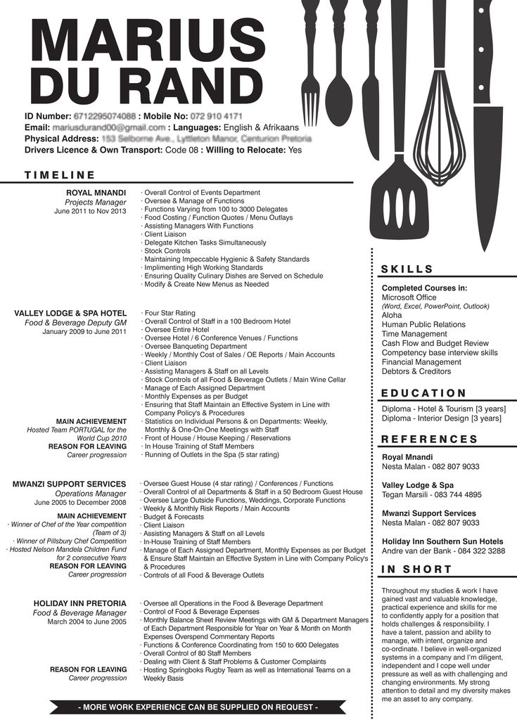 creative resume for a person in the food  u0026 hospitality