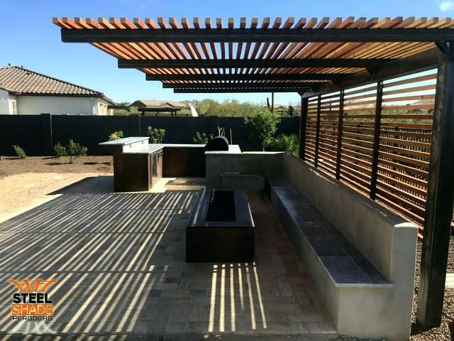 Steel Shade Pergolas Custom Flat Top Cantilever Raw Steel