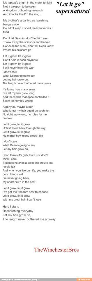 I don't watch supernatural, but this song is really funny anyway! :) Frozen-supernatural mashup let it go / let it grow