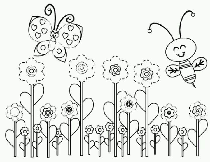 spring bee coloring page - Spring Pictures To Color