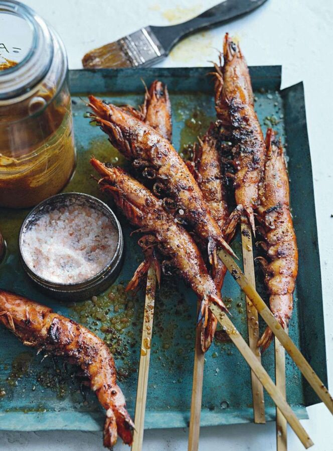 grilled prawns sprinkled with sea salt & glazed with honey