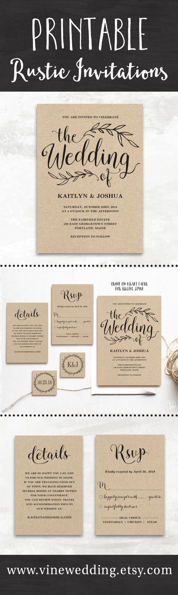 Beautiful rustic wedding invitations Editable instant templates you can print as many as you