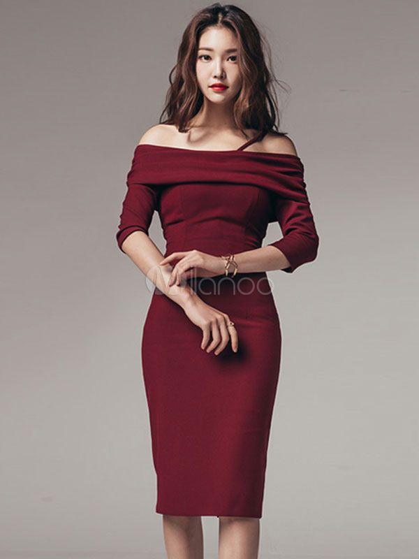 c83636c6c4 Bodycon Sweater Dress 3 4 Sleeve Off Shoulder Women s Burgundy Sheath Dress