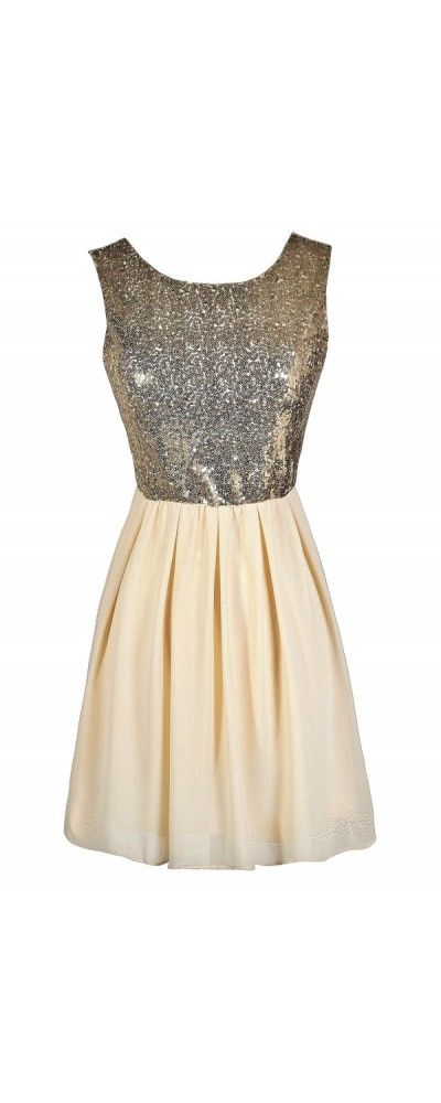 Go For Gold Sequin and Chiffon Dress in Cream  www.lilyboutique.com
