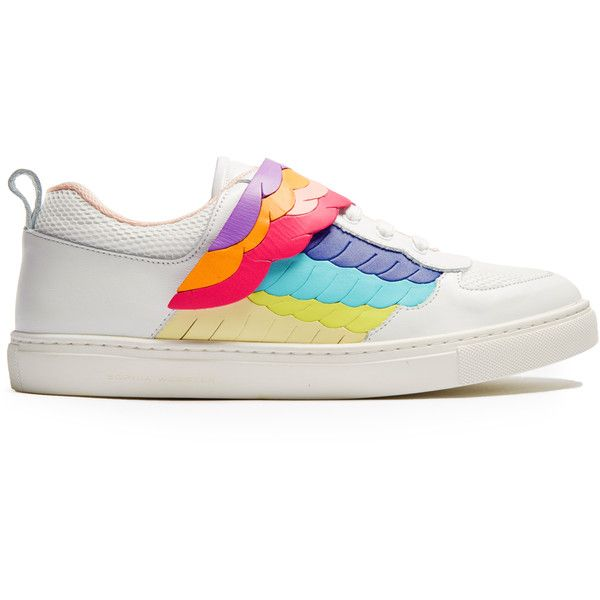 Sophia Webster Fire Bird low-top leather trainers (605 AUD) ❤ liked on Polyvore featuring shoes, sneakers, winged sneakers, velcro sneakers, rainbow sneakers, white shoes and white velcro shoes