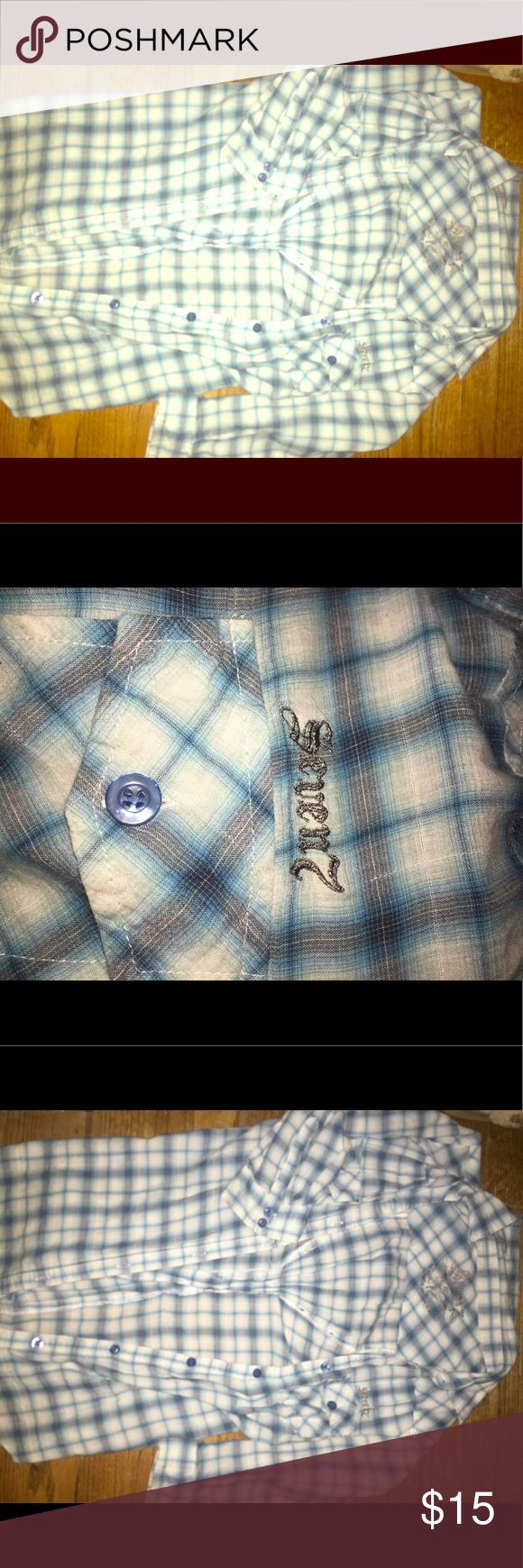 Light blue plaid shirt For sale here is a very nice and comfortable light blue plaid shirt by Seven. Has 3/4 sleeves and a cinched fabric in the back for definition. Perfect pairing with ripped Jean shorts and favorite sandals. Has that beachy worn in feel soft material. No rips, tears or fraying.  Well cared for but just running out of room! It needs a new home. A long necklace is included to compliment this little gem. Offers are welcome. No trades. Seven7 Tops Button Down Shirts