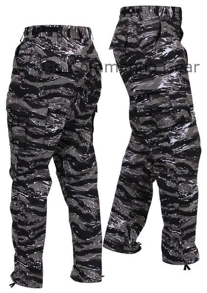 Men's Urban Tiger Stripe Camo BDU Pants - Military Tactical Uniform Style Pants Men's Urban Tiger Stripe Camo Pants Sizes: XS - 2XL Material: 55% Cotton / 45% P