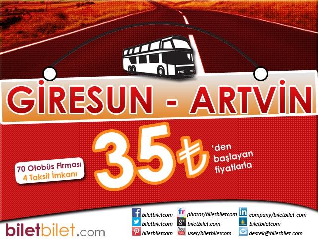 Giresun Artvin Otobüs Bileti 35 TL'den başlayan fiyatlarla Biletbilet.com'da. Biletbilet.com iyi yolculuklar diler.