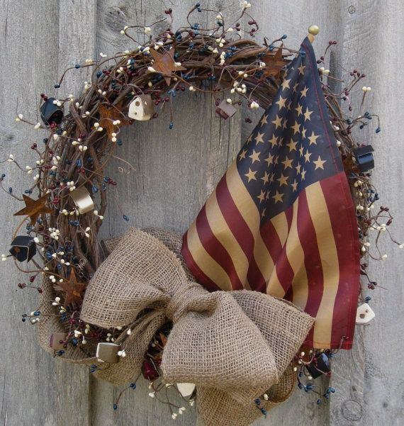 Americana Country Items | Americana Country Cottage Wreath by New EnglandWreath