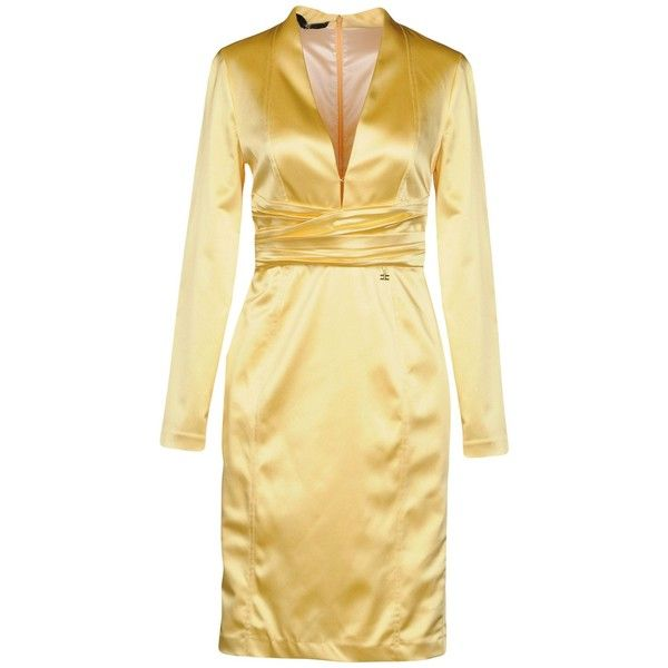 Elisabetta Franchi Short Dress ($194) ❤ liked on Polyvore featuring dresses, yellow, satin mini dress, beige short dress, short dresses, long sleeve short dress and short yellow dress