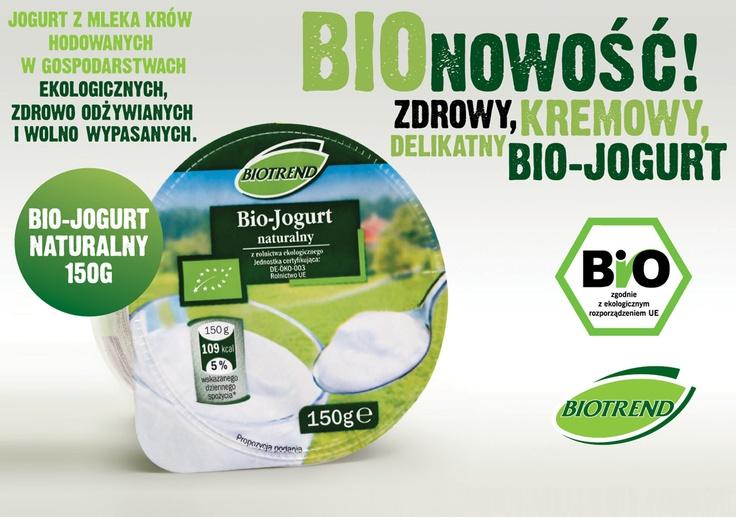 Nowość BIOTREND - jogurt naturalny. Jest pyszny, aksamitny, kremowy. Został wyprodukowany z mleka krów hodowanych w gospodarstwach ekologicznych, zdrowo odżywianych i wolno wypasanych.