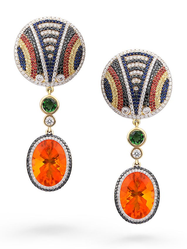 SHIELD OF THE MAASAI EARRINGS by VOTIVE • Mexican Fire Opal, Tourmalines, Blue, Red and Yellow Sapphires, Black and White Diamonds, 18k Yellow Gold