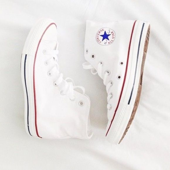 White Hightop Converse Been worn one time, still in great condition! They are size 5 but fit a size 7 or 7.5! Converse Shoes Sneakers