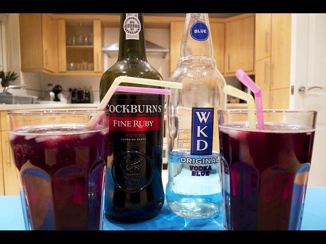 Cheeky Vimto/Cheeky Woo Woo: WKD, port, lemonade (to taste)