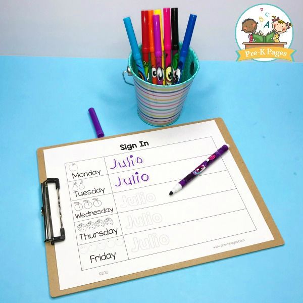 Daily Sign In Sheets For Your Preschool Classroom Pre K Pages Writing Practice Preschool Pre K Pages Preschool Sign In