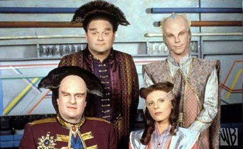 Clockwise from top left: Stephen Furst as Centauri attache Vir Cotto, Bill Mumy as Minbari attache Lennier, Mira Furlan as Minbari ambassador Delenn and Peter Jurasik as Centauri ambassador Londo Mollari