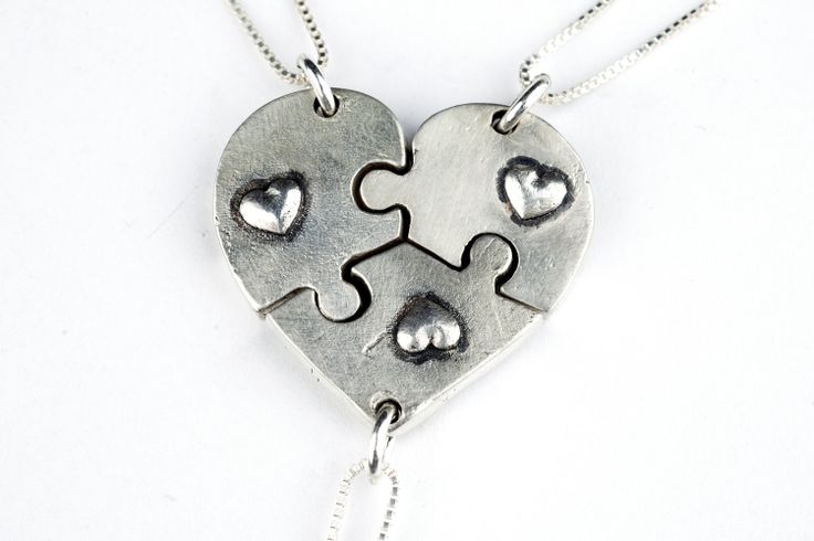 Puzzle Piece Heart Necklaces Sterling Silver : Etsy by rockmyworldinc
