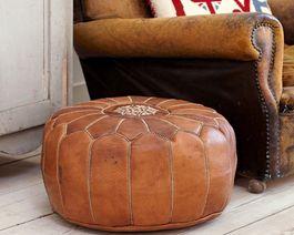 Marockansk Läder Sittpuff Natur