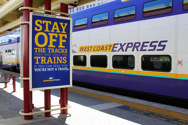 A fun poster campaign for TransLink's West Coast Express commuter train. Stay of the Tracks!