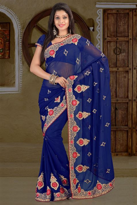 Chiffon Blue party wear saree