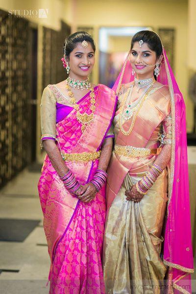 South Indian bride. Temple jewelry. Jhumkis.Silk kanchipuram sari with contrast blouse.Braid with fresh flowers. Tamil bride. Telugu bride. Kannada bride. Hindu bride. Malayalee bride.